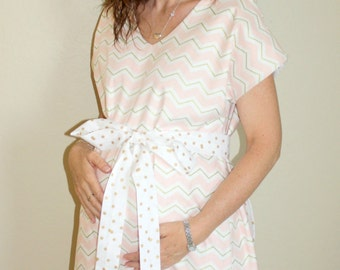 Thea Marie Maternity Hospital Gown - Pink White Gold Chevron  - Lined or Unlined - Add a Robe- by Mommy Moxie on Etsy