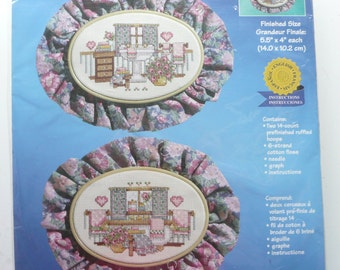 Janlynn Bathroom Floral Ruffled Hoops Counted Cross Stitch Kit, No. 140-192