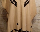 vintage 70s wool festival poncho Mexican made fringe trim Indian native design blanket cape serape one size Coachella