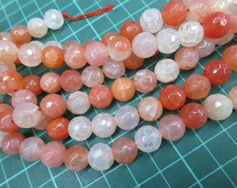 5 str (190pcs beads) -canadian red Agate 10mm Round Beads faceted