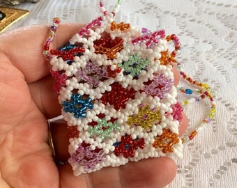 Sale 20 Vintage hand made beaded girls coin purse necklace