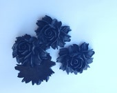 LARGE Cabbage Rose Cabochons - Lot of 4 - 34x43mm - Black Color - big flower jewelry finding huge rose mum