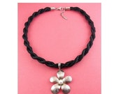 Adami & Martucci Sterling Silver and Pearl Flower Pendant on Black Cord Necklace