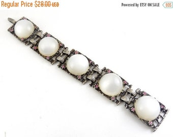 1960s White Moonglow Lucite & Pink Rhinestones Bracelet - BIG Cabochons