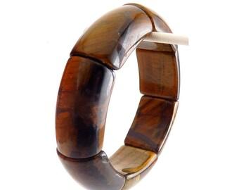Tigers Eye Quartz Wide Panels Stretch Bangle Bracelet