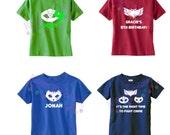 PJ Masks Superhero T-shirt with Custom Personalization / Owlette / Cat Boy / Gekko / Luna Girl / Romeo / Disney Junior Cartoon / Bad Guy