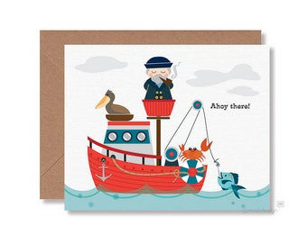 Ahoy There Card / All Occasion Card / Card for Any Occasion / Blank Card / Nautical Card/ Sea Captain Card