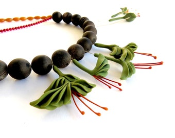 Tropical Heliconia flower statement necklace. OOAK limted edition. Ready to ship