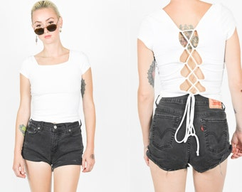 90's WHITE STRAPPY Crop Tank Top. 1990's Grunge Mod Minimalist. Bustier Tank Top size Small Medium. Rave Club Modern. STRAPPY Lace Up Back