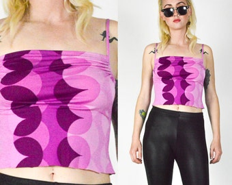 90's Does 70's Optical Illusion Pink Cropped Tank. 90's Clubkid Grunge Disco. 70's MOD