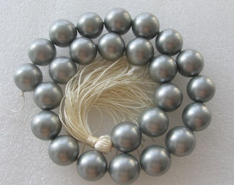 16mm Silver Grey Shell Pearl Beads - 16 Inch Strand