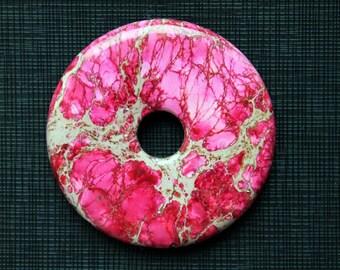 Magenta Red Variscite Sea Sediment Jasper Donut Pendant