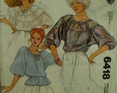 """Layered Peasant Blouse Pattern, Banded Tie Neck, 3/4 Sleeves, 1-3 Layers, McCalls No. 6418 UNCUT Size Small 6-8 (Bust 30.5-31.5"""" 78-80cm)"""