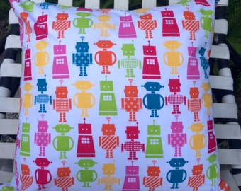 "Pillow Cover ""Robots"" in Pinks, Orange, Yellow & Green"