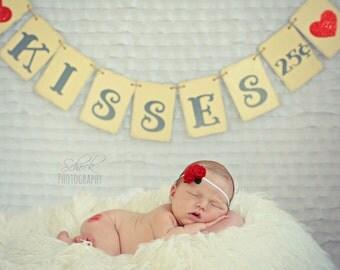 KISSES 25 CENTS banner, valentine banner, cream gray red, valentine photo prop, red glitter hearts, valentine sign, valentine decor