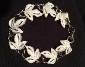 Vintage Coro Bracelet-1960's Bracelet White Spring Leaves
