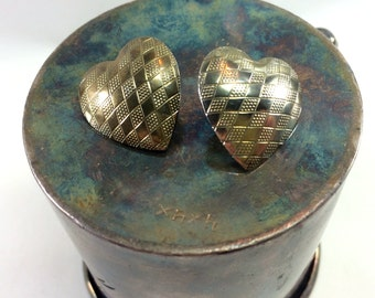 Checkerboard heart earrings