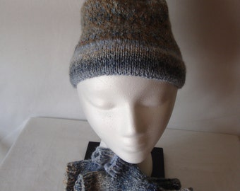 Knit hat and fingerless glove set in blue and brown tones, Knit hat and gloves for an adult, wristlet gloves and hat set
