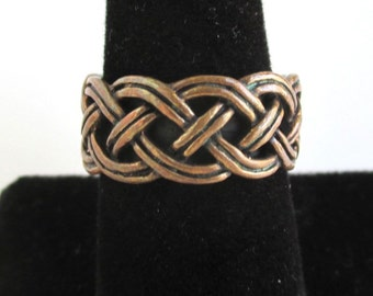 Copper Band / Ring - Raised Braided Texture, Vintage Size 8