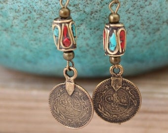 Bronze TURKISH COIN Dangle charms earrings with a Nepali Inlay Brass and turquoise bead Boho chic Gypsy Native American designed by Inali
