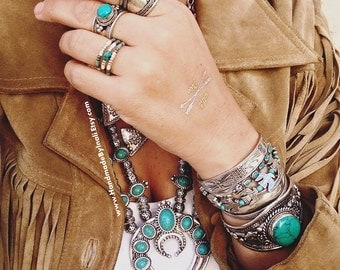 SQUASH BLOSSOM style reproduction statement necklace Alloy&Howlite Turquoise Bohemian Native American southwestern inspired by Inali #SB02