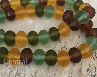 8mm x 6mm Czech Glass Bead Spacer Rondelle Donut (10) Bohemian Woodland Mix - Matte Yellow Green Brown - Earth Tone - Central Coast Charms
