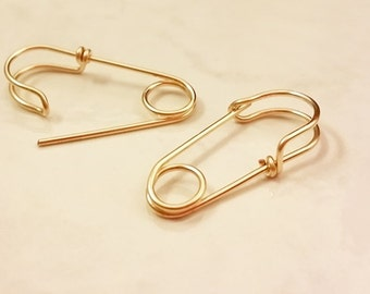 14k Gold Filled Safety Pin Earrings, One Pair, one inch long