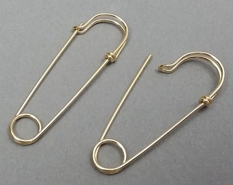 Medium Size Yellow Gold Filled Safety Pin Earrings, 1.5 inches long, Choose ONE or a PAIR