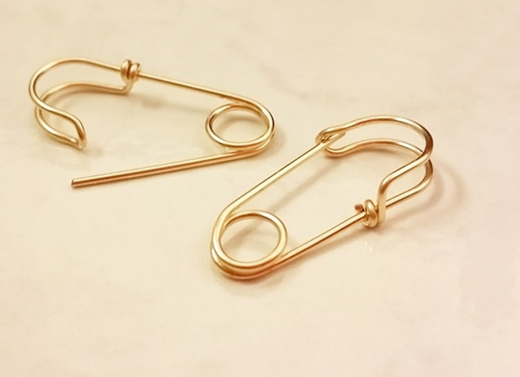 14k Gold Filled Safety Pin Earrings One By