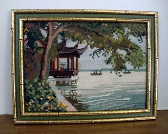 Vintage Oriental Needle point Framed picture