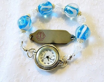 Interchangeable Stretchy Medical ID Tag or Watch Beaded Bracelet