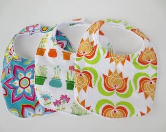 Terrycloth Baby Bib Set - 3 Floral Bibs