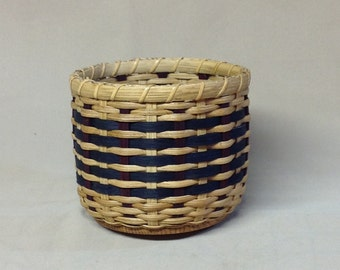 Patriotic Basket with Wood Base, Hand Woven, Americana