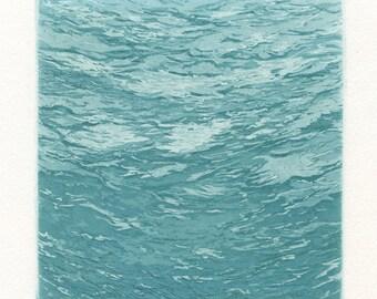 Ascent, Original Etching of Underwater Scene