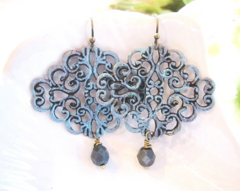 Blue Filigree Earrings, Chandelier Dangles, Boho, Moroccan, Tribal, Czech Bead Drop, Redpeonycreations