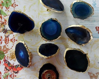 Small Custom Blue Agate Slice Drawer Pulls Knobs 18K Gold Edge