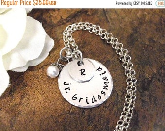 SALE Junior Bridesmaid Jewelry, Personalized Jewelry, Initial Necklace, Wedding Jewelry, Junior Bridesmaid Necklace