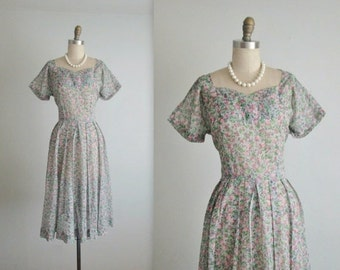 STOREWIDE SALE 40's Floral Dress // Vintage 1940's Sheer Floral Print Nylon Pleated Garden Party Full Summer Day Dress L