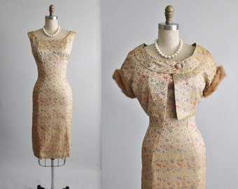 Reserved. 50's Suzy Perette Dress Set  // Vintage 1950's Gold Floral Brocade Mink Fur Fitted Cocktail Party Dress Jacket Ensemble Set S