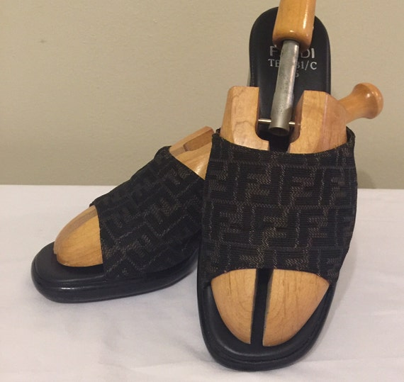 Vintage Fendi Slide Mule Shoes Zucca FF Pattern Black U0026 Gold