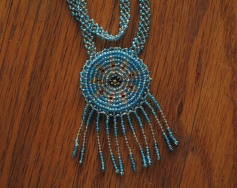 vintage beaded rosette necklace