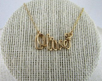 Gold Name Necklace, 14K Gold Fill or Sterling Filled, Custom Name, Personalized Bridesmaid Gifts, Bridesmaid Necklace Gifts Under 30