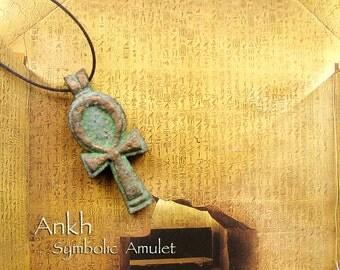 Ankh Symbolic Amulet - Ancient Egyptian Symbol of Life - Hieroglyphic Sign - Handcrafted Protective Amulet - Bronze Patina Finish
