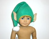Elf Hat Cap with ears fits 18 inch boy girl doll American made green pom pom gold Christmas hat Santa Claus elf