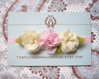 Pink and Ivory Flower Baby Headband - Pink and Ivory Newborn Headband - Flower Girl Headband - Baptism Headband - Christening Headband