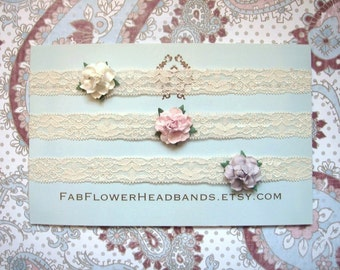Ivory Pink Lavender Lace Newborn Headband - Lace Headband - Baby Headband - Small Flower - Set of Three Headbands - Tiny - Rose - Simple