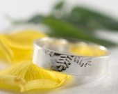Ash Mens Wedding Band: A large 5mm wide sterling silver Ash leaf textured wedding band