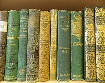 Antique Books - Victorian Covers Steampunk - Green Gold - Instant collection - SET OF 10