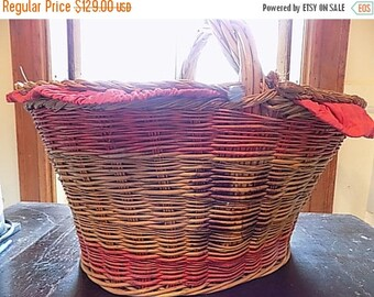 SaLe HUGE Antique Picnic Basket - Rattan - Shopping Basket