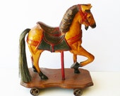 Antique Carved Toys, Pull Toys, Large Horse with Saddle, Rusty Metal Wheels, Reserved
